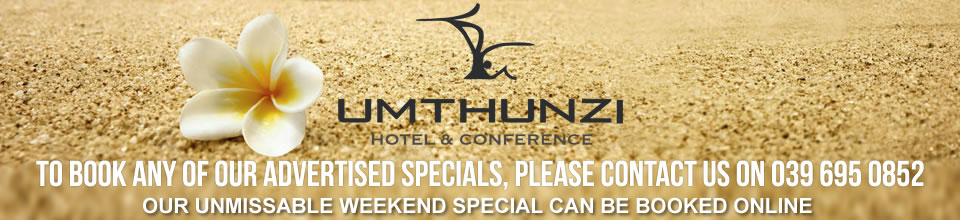 Book our exclusive Hotel accommodation offers by calling 039 695 0852 or email us at reservations@umthunzi.co.za