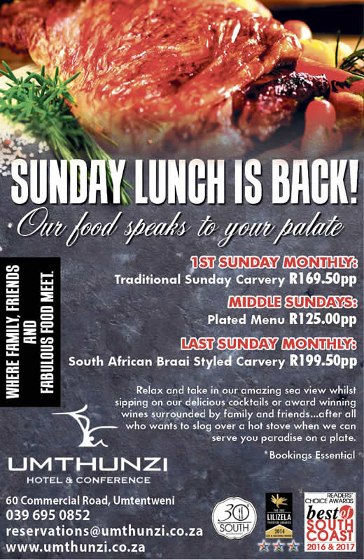 Sunday lunch is back on 1st Sunday monthly with a traditional carvery, middle Sunday we have plated menu and the Last Sunday of the Month we have a South African styled carvery. Bookins Essential.