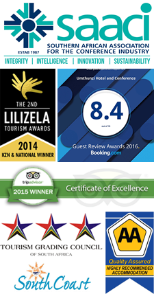Awards and affiliations of Umthunzi Hotel, KZN South Coast.