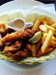 Fish 'n chips at Umthunzi Restaurant