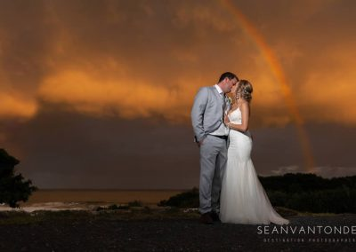 Couple on beach after wedding at Umthunzi Hotel - Photo credit Sean van Tonder